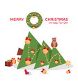 christmas card - cat dropped tree vector image vector image