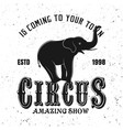 circus show black emblem with elephant vector image vector image