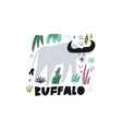 cute buffalo flat hand drawn vector image
