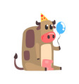 cute cartoon cow in a party hat sitting and vector image