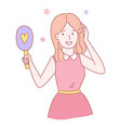 cute pretty girl with hairbrush or mirror vector image