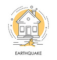 earthquake isolated icon house and ground vector image vector image