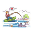 fisherman in rubber boat vector image vector image