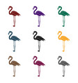flamingo icon in black style isolated on white vector image vector image