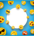 fun smiley face cartoon icons white frame template vector image vector image