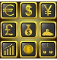 Golden finance buttons vector image vector image
