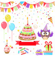 greeting set with funny owl and birthday cake vector image
