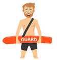 happy male lifeguard rescue on duty vector image