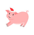 happy pink pig in santa hat vector image vector image