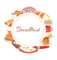 hotel breakfast menu poster with croissant vector image