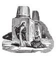 jesus tells a woman to go and sin no more vintage vector image vector image