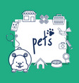 mascots with pets shop set icons vector image