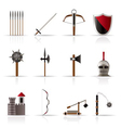 Medieval arms and objects icons vector image