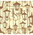 Old town seamless texture with wrought lanterns vector image vector image