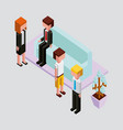 people office break in sofa with plant isometric vector image