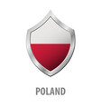 poland flag on metal shiny shield vector image