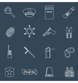 Police icons outline vector image