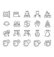 pottery line icon set vector image vector image