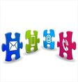 Puzzle with contact icon vector image