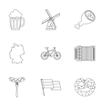 Republic of Germany icons set outline style vector image vector image