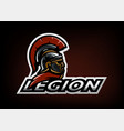 roman legionnaire logo on a dark background vector image vector image