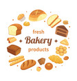 round bakery products label fresh baked bread vector image vector image