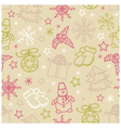 Seamless pattern of Christmas items vector image vector image