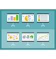 Set of flip chart with drawing business charts vector image vector image