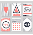 Set of vintage cards with romantic hand drawn vector image