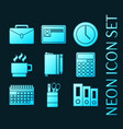 set office equipment blue glowing neon icons vector image