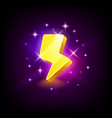shining yellow lightning icon for online casino or vector image vector image
