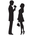 Silhouette of couple on a date vector image vector image