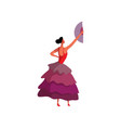 spanish fan dance dancing woman on white vector image vector image