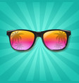 summer sunglasses with sunburst background vector image vector image