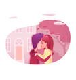 teenagers kissing flat vector image vector image