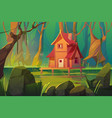 wooden mystic stilt house above swamp in forest vector image vector image