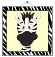 Zebra portrait in zebra frame vector image vector image