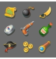 Pirate icons set Set of corsair items Different vector image