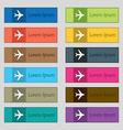 Plane icon sign Set of twelve rectangular colorful vector image