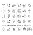 Valentine icon set flat design line thin style vector image