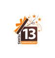 13 years gift box ribbon anniversary vector image vector image