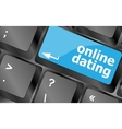 A keyboard with a online dating button - social vector image