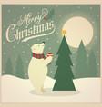 beautiful retro christmas card with polar bear vector image vector image