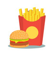 black and white french fries with burger vector image