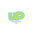 blue green alphabet letter vp v p logo icon design vector image vector image