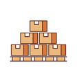 boxes on wood pallet closed carton delivery vector image