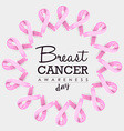 Breast cancer awareness ribbon design with text vector image vector image