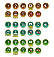 buttons set with icons gui vector image vector image