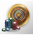 Chips and roulette for poker and casino game vector image vector image