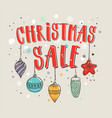 christmas sale banner with hand lettering vector image